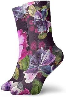 HNJZ-GS, Calcetines Deportivos Acuarela Púrpura Floral Personalizado Bota Corta para Mujer Calcetín de Regalo Liquidación para niños