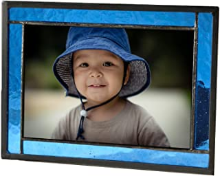 Blue Picture Frame Stained Glass Home Décor Office Deck Table Top 4x6 Photo Horizontal Vertical Easel Back Series J Devlin