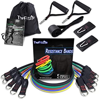 TheFitLife Exercise Resistance Bands with Handles - 5 Fitness Workout Bands Stackable up to 110 lbs, Training Tubes with L...