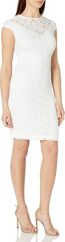 Marina Women's Short Cap Sleeve Lace Dress