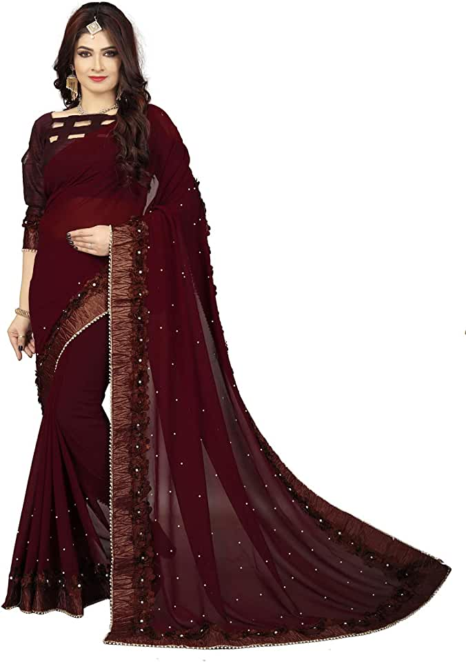 Indian Shubh Sanidhya Women's Embroidered Georgette Brown Saree(SS-SR-10072-Brown) Saree