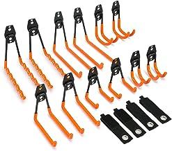 Synlyn haken 12 stuks muurhaken garagehaken dubbele zware apparatuur haken met opbergband fietshouder ijzeren gereedschaps...