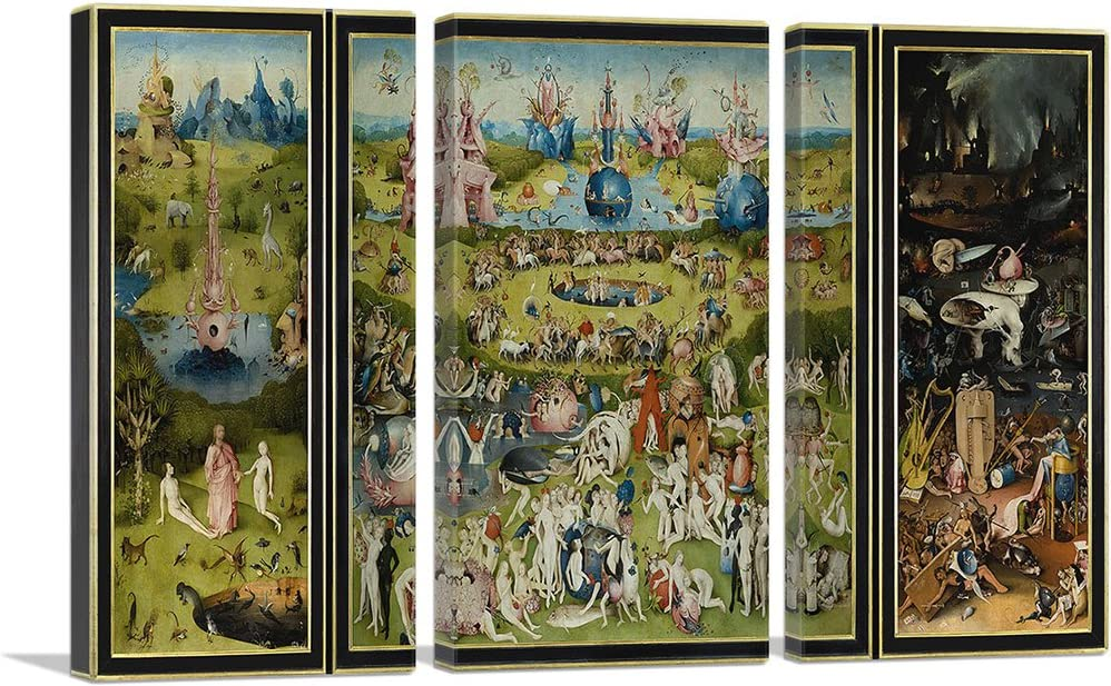 Artcanvas The Garden Of Earthly Delights 1515 Canvas Art Print By Hieronymus Bosch 60 X 40 0 75 Deep 3 Piece Posters Prints