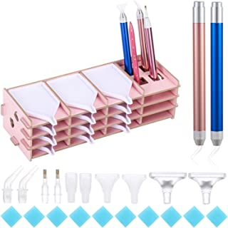 12 Pieces Wax Storage Case and Anti-Slip Sticky Mat Holder Detachable Beading Storage Stand DIY Craft Tool Kits Yushen Wooden Diamond Painting Tray with 9 Slots Point Drill Pen Organizer