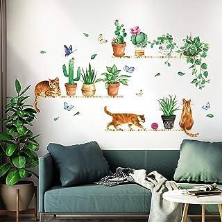 decalmile Stickers Muraux Cactus Vertes Autocollant Mural Chat avec Plantes Décoration Murale Chambre à Coucher Salon Cuisine