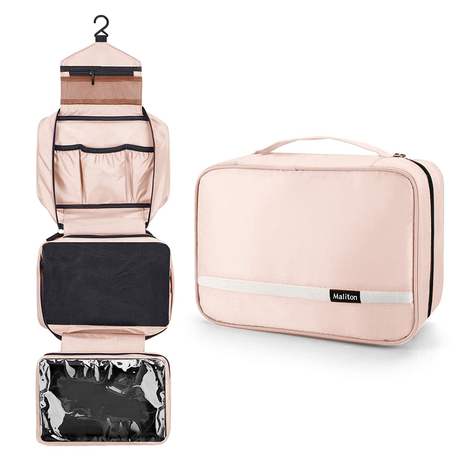 Hanging Toiletry Bag, Travel Toiletry Bag | Foldable Dopp Kit with Large Capacity for Men | 4 Layers Portable Waterproof Hygiene Bag for Women | Travel Bathroom Organizer(Pink) : Beauty