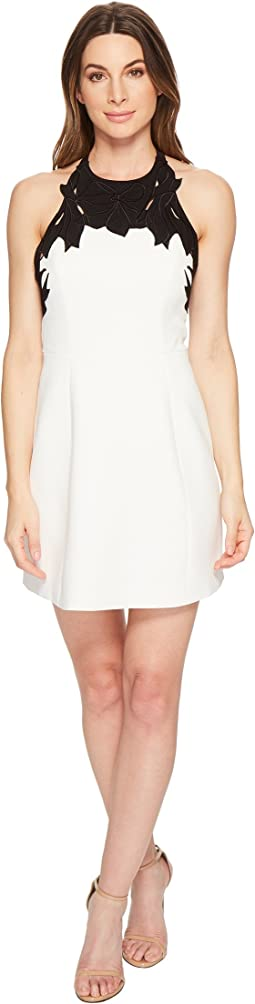 Halston Heritage Sleeveless High Neck w/ Embroidered Top Dress