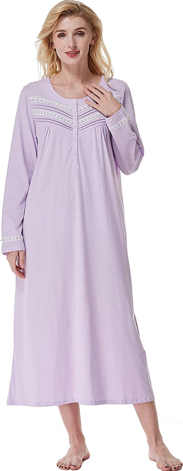 Keyocean Nightgowns for Women, Soft 100% Cotton Warm Comfy Long-Sleeve Ladies Sleepwear Gown for Mom