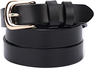 Beltox Fine Women's Full Grain Leather Solid Color Belt 22MM Gold Buckle Gift Box
