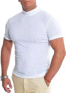 D&R Fashion Men's Polo Neck T-Shirt Stretchy Cotton Short Sleeve Turtleneck Slim