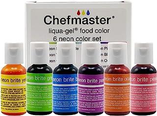 Chefmaster - Neon Liqua-Gel Food Coloring - Fade Resistant Food Coloring - 6 Pack- 20ml Bottles - Stunning, Vivid Colors, ...