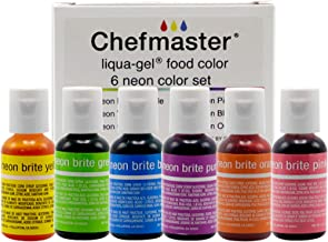 Chefmaster - Neon Liqua-Gel Food Coloring - Fade Resistant Food Coloring - 6 Pack- 20ml Bottles - Stunning, Vivid Colors, ...