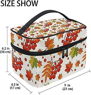 Buy Stylish Modern Minimalist Atmospheric Beautifu Autumn Pattern With Rowan Berries Large Cosmetic Bag Travel Makeup Orga...