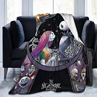 Nightmare Before Christmas Ultra Soft Throw Blanket Flannel Fleece All Season Light Weight Living Room/Bedroom Warm Blanket,Black,60