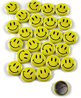 Classic Smiley Face Pinback Buttons - 1 Inch Size - 25 Pack