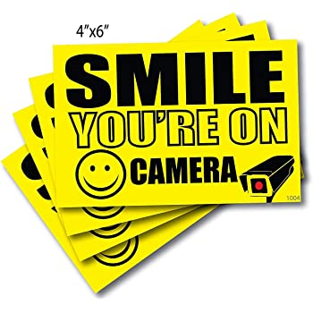 """(4) 4"""" x 6"""" Smile You're On Camera Sticker, Camera in Use Decal, Security Camera Signs Outdoor Decal Sticker"""