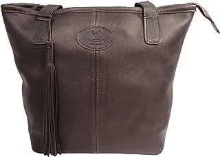 Wild Scottish Deerskin Designer Leather Authentic Herringbone Harris Tweed Large Tote Bag