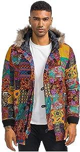 Leewa Hooded Jacket Man, Winter Parka Jacket Parka Hawaii Ethnic Jacket Coat Man Windproof Warm Jacket Jackets Outwear Jacket Jackets Top Cotton and Linen