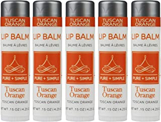PURE + SIMPLE Tuscan Orange Lip Balm Collection, Vegan, Set of 5 Tubes Avocado Butter, Jojoba Oil Vitamin E Complex Healing Treatment