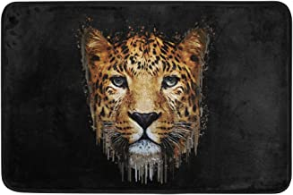 JSTEL Nonslip Door Mat Home Decor, Hipster Leopard Portrait Durable Indoor Outdoor Entrance Doormat 23.6 X 15.7 Inches