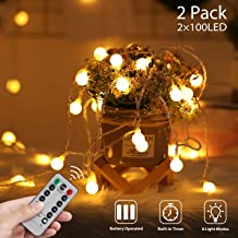 2 x 100 LED Globe String Lights Battery Operated Waterproof, 2 x 49 Ft Fairy String Light 8 Modes Dimmable with Remote Con...