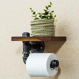 Toiletrolhouder met plank, DIY industriële ijzeren pijp wandgemonteerde toiletrolhouder met houten plank, voor Home Deco,C