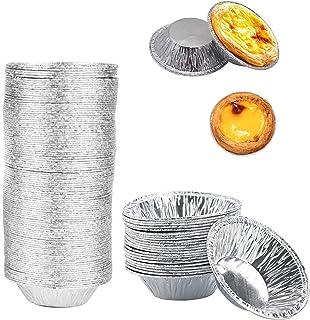 Egg Art Molds (400PCS), Disposable Aluminum Foil Mini Baking Tray, 2.8-inch Egg Tart Baking Cup, Wsed to Make Egg Tarts, Q...