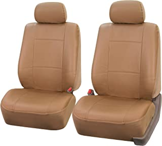 FH Group FH-PU001102 Classic Synthetic Leather Pair Set Car Seat Covers, Beige Color - Fit Most Car, Truck, SUV, or Van