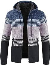 Beautyfine Look! Mens Winter Sweater Blouse Warm Coats Cardigan Striped Zipper Hoodie Outwear Tops