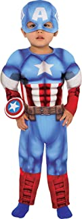 Captain America Muscle Costume for Babies, Size 12-24 Months, Includes a Padded Jumpsuit, a Hat, and More