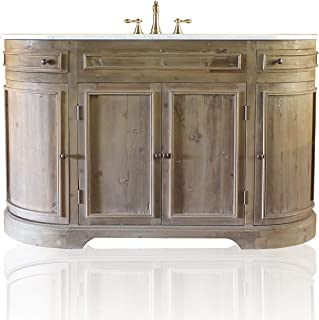 """Light Reclaimed Fir Large 60"""" French Provincial Rounded Corner Demilune Cabinet Console Single Bath Vanity"""