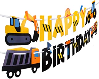 Construction Birthday Party Supplies Banner | Baby Boy Toddler Kids Birthday Truck Decorations - Huge 8-feet Long Under Co...