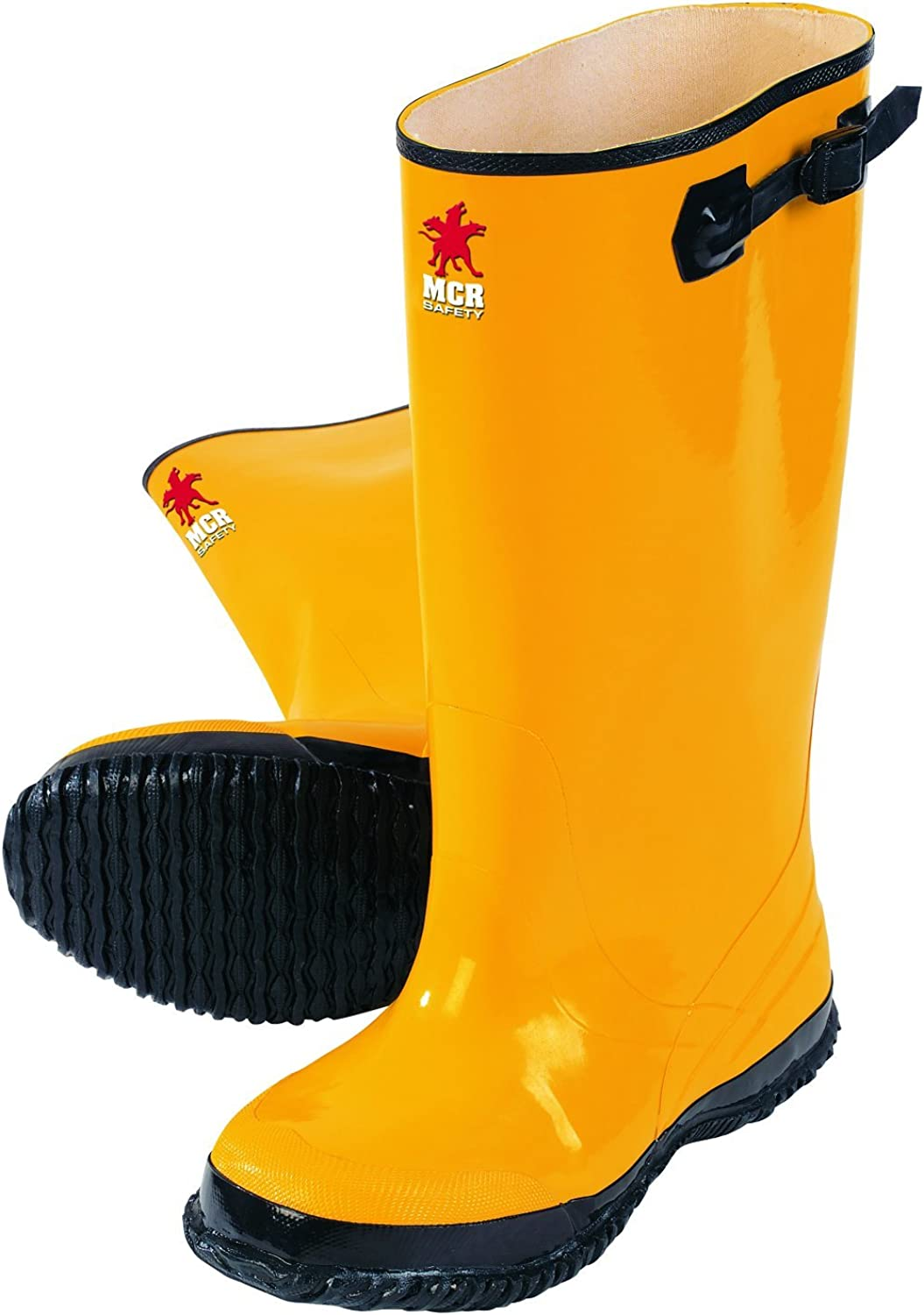 MCR Safety BYR10010 Waterproof Rubber Slush Boot with Cleated Outsole, Yellow, Size 10, 1-Pair
