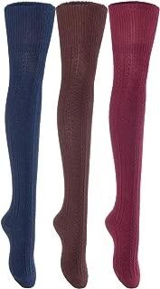 Women's 3 Pairs Fancy Knee-High Cotton Boot Socks M1025 Size 6-9