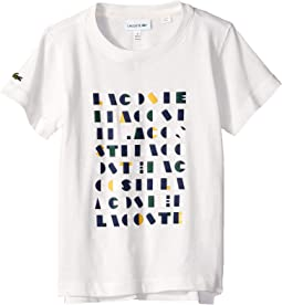 Short Sleeve Lacoste Wording Print Tee Shirt (Toddler/Little Kids/Big Kids)