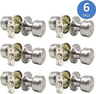 6 Pack Keyed Entry Exterior Door Knobs with Keys and Locks, Satin Nickel Modern Door Lock Set, Keyed Alike Combo Pack Door Handleset, Durable Front Door Knobs