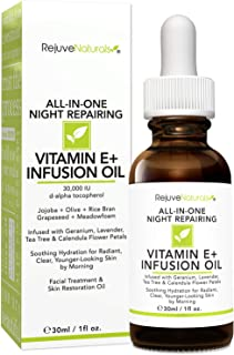 Vitamin E Oil - Night Repairing Face & Skin Moisturizer. All Natural - 30,000 IU. Visibly Reduces Scars, Stretch Marks, Dark Spots & Wrinkles. Soothing Hydration for Radiant & Clear, Youthful Skin