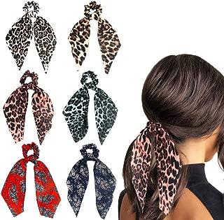 Funlovin Hair Scarf Cheetah-print 6 Satin Scrunchies Hair Scarfs Leopard-print Silk Scarves Scrunchie Big Large Patterned Ponytail Holder Scrunchy Hair Ties Cute Floral Scrunchie Pack for Women Girls