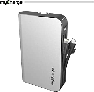 myCharge Portable Charger Power Bank - Hubmax 10050 mAh External Battery Pack | Wall Charger Foldable Plug | Built in Cables (Apple iPhone Charger Lightning Cable and Android Samsung Micro USB Cable)