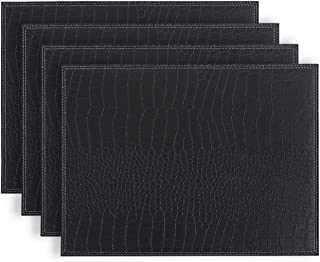 Fudostar Placemats set of 4 Firm Faux Leather PU, 16