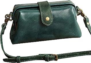 Premium lederen retro handgemaakte dokter crossbody tas, dames vintage stijl echt bruin lederen crossbody schoudertas voor...