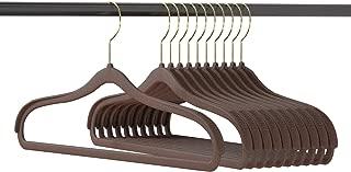 Suit Hangers Non Slip Velvet 10 Pack - Coat Hanger Wide Shoulder 360° Swivel Hooks & Jacket Hangers for Men Anti-Slip Bar Brown