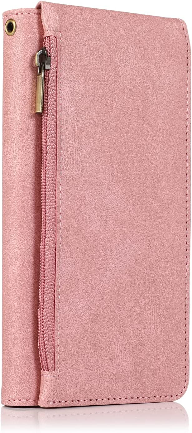 Rose Gold Retro Case Compatible with Apple iPhone 12 Mini 2020 5.4 Wristband Fold Zipper Durable Card Holder Simplicity Fashion PU Leather Soft Shockproof Protective Shell for Boy Girl