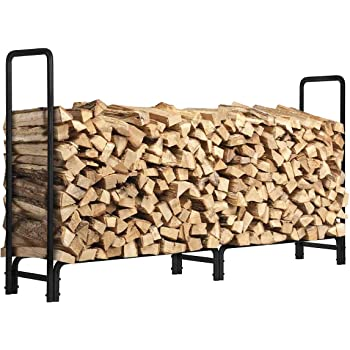 KINGSO 8ft Firewood Rack Outdoor Heavy Duty Log Rack Firewood Storage Rack Holder Steel Tubular Easy Assemble Fire Wood Rack for Patio Deck Log Storage Stand for Outdoor Fireplace Tool