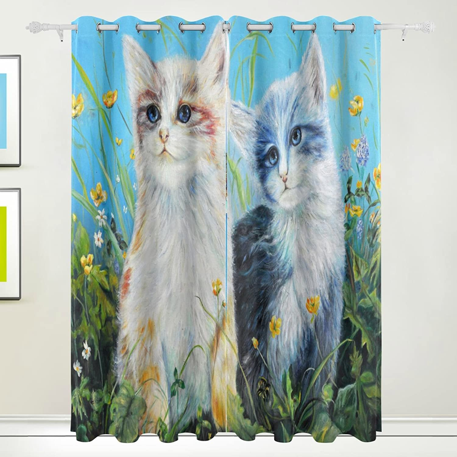 Oil Painting Cats Blackout Window Curtains Grommet Top Thermal Insulated Room Darkening Drape for Bedroom Living Room 55W x 84L Inch, 2 Panels