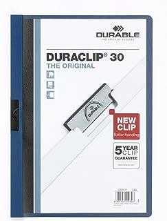 Durable 222707 Klemmap Duraclip, tot 30 vellen A4, 5 stuks, donkerblauw