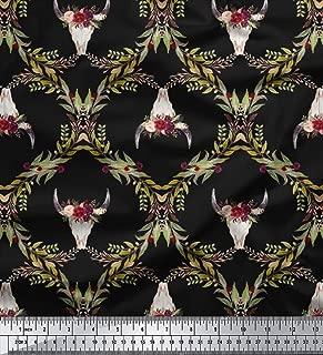 Soimoi Black Silk Fabric Floral & Cow Skull Head Damask Print Fabric by The Yard 42 Inch Wide
