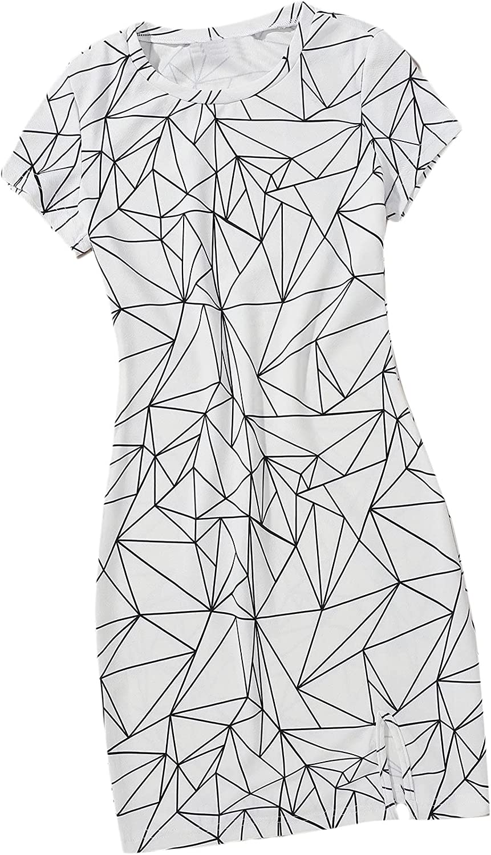 Floerns Women's Casual Geo Print Round Neck Short Sleeve Slit Pencil Dress
