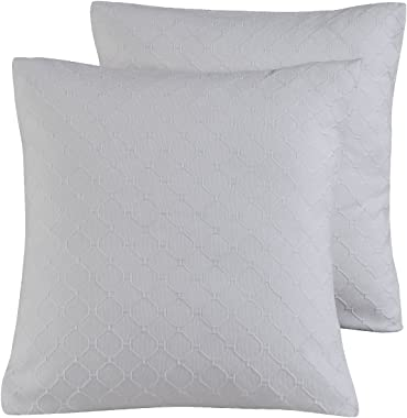 "PHF Cotton Matelasse Textured Euro Sham Covers, Set of 2, Grey, Home Decorative Euro Throw Pillow Covers for Couch Sofa Bed, No Filling, 26""x 26"""
