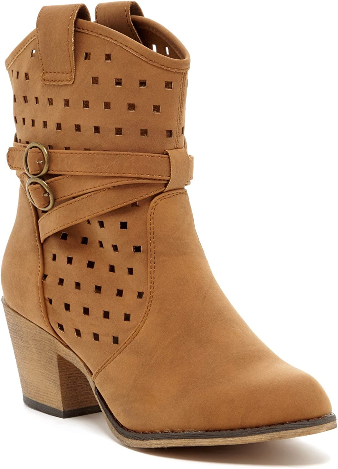 Charles Albert Women's Laser-Cut Perforated Western Cowboy Boot with Pull-Up Tabs